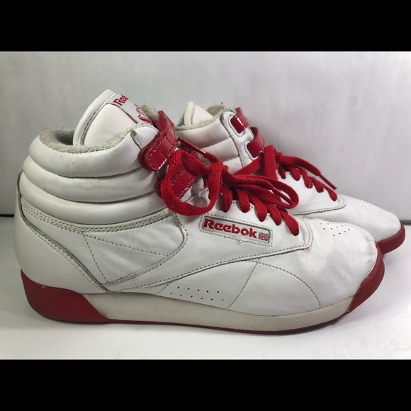 Reebok Womens Classic Freestyle High Top White Red
